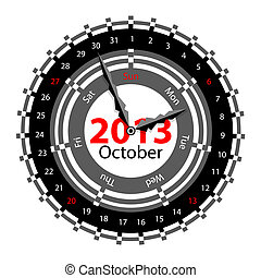 Creative idea of design of a Clock with circular calendar for 2013.  Arrows indicate the day of the week and date. October