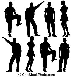 Vector illustration of fashion people silhouette. Isolated on white.