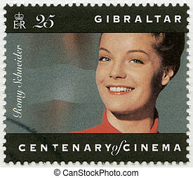 GIBRALTAR - 1995: shows Romy Schneider 1938-1982, actress -...