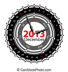Creative idea of design of a Clock with circular calendar for 2013.  Arrows indicate the day of the week and date. December