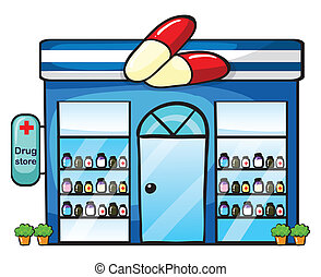 a drug store - illustration of a drug store on a white...