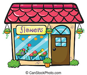 a flower shop - illustration of a flower shop on a white...