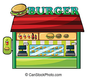 a fastfood restaurant - illustration of a fastfood...