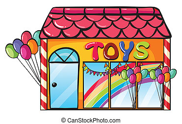 a toy shop - illustration of a toy shop on a white.