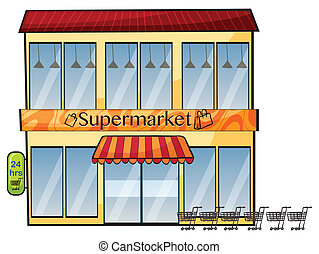 a supermarket - illustration of a supermarket on a white...