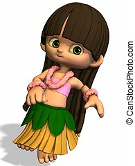 Hula Girl - 3D Render of an Toon Hula Girl