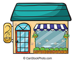 a coffee shop - illustration of a coffee shop on a white...