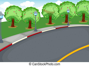 a road - illustration of a road in a beautiful nature