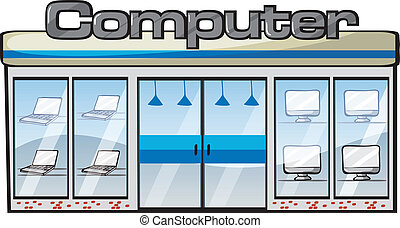 a computer store - illustration of a computer store on a...