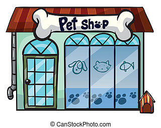 a pet shop - illustration of a pet shop on a white...