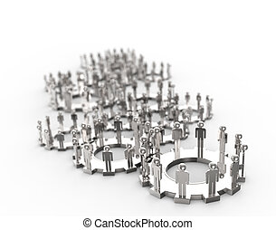 Model of 3d figures on connected cogs