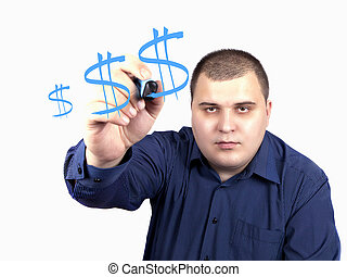 young man in a blue shirt marker drawing a dollar sign