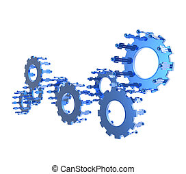 Model of 3d figures on connected cogs as industry concept