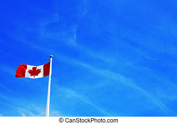 Canadian flag with sky in the background
