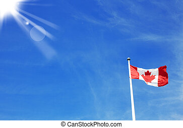 Flag of Canada with sky in the background
