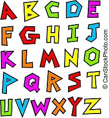 funky alphabet - funky style made up alphabet isolated on...