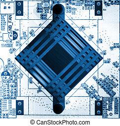 motherboard in blue
