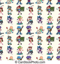 seamless cartoon people pattern
