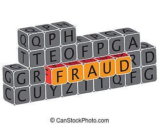 Illustration of word fraud using alphabet cubes The graphic...
