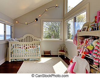 bebé, niña, habitación, blanco, pesebre, ropa