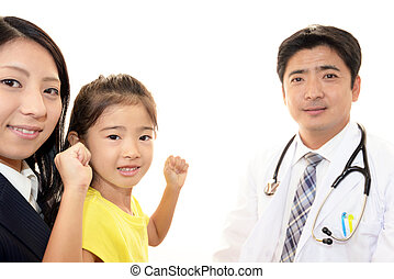 Smiling doctor and happy patient