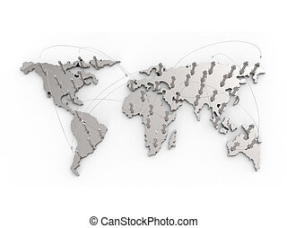 social network human 3d on world map