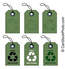 reciclado, etiquetas, verde