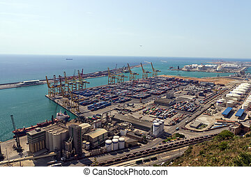 Industrial Port of Barcelona from Montjuic Mountain.