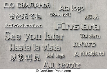 See you later - inscription on stone background Barcelona...