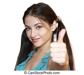 Woman showing thumb up with happy smile isolated on white...