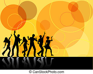retro party - Silhouettes of people dancing on retro...