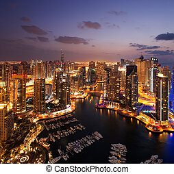 A view of Dubai Marina, at Dusk