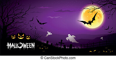 Happy Halloween ghost scary purple background, vector...