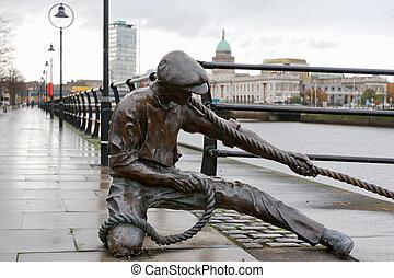 The Linesman statue. Dublin, Ireland - The Linesman statue...