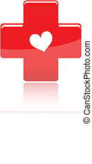 Red medical cross with shape heart