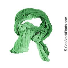 verde, algodão, echarpe, isolado, fundo