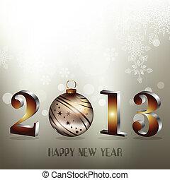 2013, heureux, nouveau, année, salutation, carte