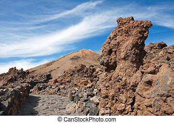 Teide National Park. Tenerife. Canary Islands - Path in lava...