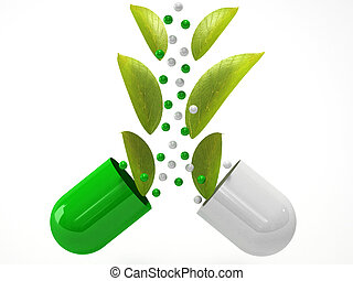 medical herbal pills with green plant on white background