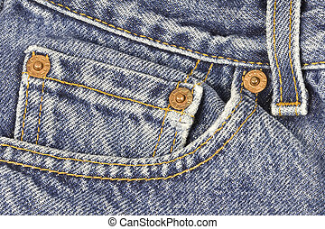Blue Jeans Pocket - Close-up photo of a pair of blue jeans,...