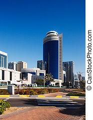 A street-scape of Abu Dhabi as it develops in the twenty...