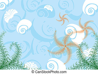 Sea life - Decorative sea background with its inhabitants. A...