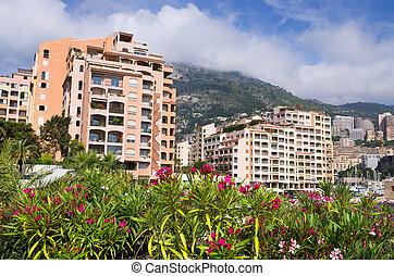 Fontvieille. Monaco - Apartment houses at Fontvieille...