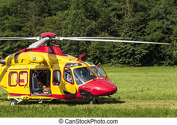 Emergency rescue helicopter - Alpine emergency helicopter...