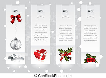 Vertical banners with Christams elements