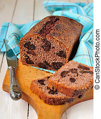 Prune and Port Bread - Sliced prune and port sweet bread on...