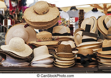 Hats for sale on a market stall