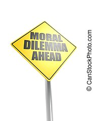 Moral dilemma ahead - Rendered artwork with white background