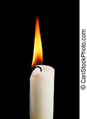 Candle flame - Candle and burning flame isolated on black