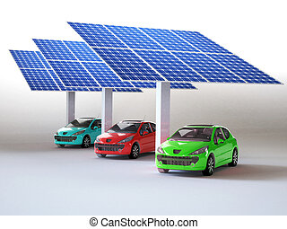 solar panel for cars isolated in white